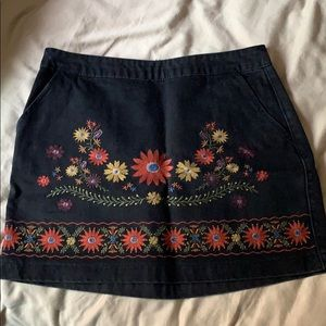 Embroidered Black Denim Skirt